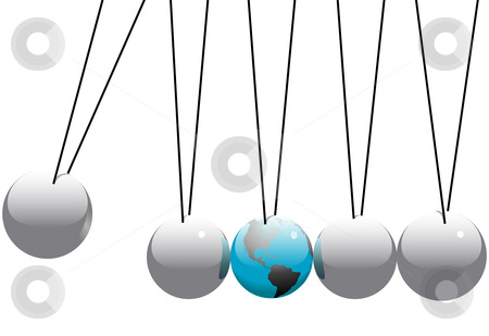 Earth Globe in Newtons Cradle Balls stock vector clipart, Earth in danger in a Newton's Cradle business desktop toy. by Michael Brown