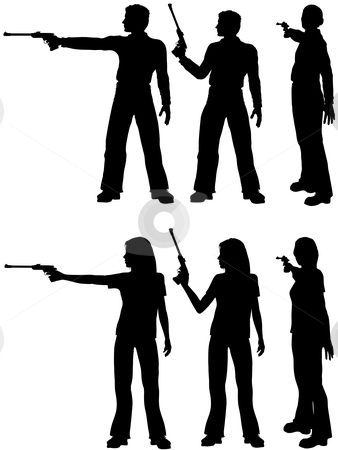 Silhouette man woman shoot target pistol stock vector clipart, A silhouette man and woman shoot a target pistol in three stances. by Michael Brown