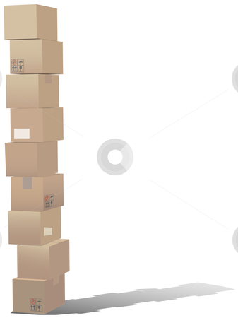 Stack of shipping carton boxes stock vector clipart, A tall stack of shipping carton boxes with a shadow. by Michael Brown