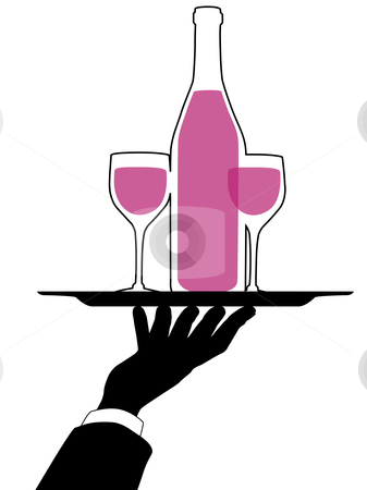 Waiter Hand Holds Wine Tray silhouette stock vector clipart, Waiter silhouette arm and hand hold a serving tray and red wine bottle and glasses. by Michael Brown
