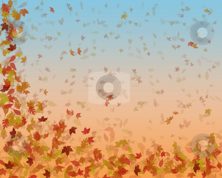 Autumn leaves stock photo, Large background image of autumn leaves gently falling down by Phil Morley
