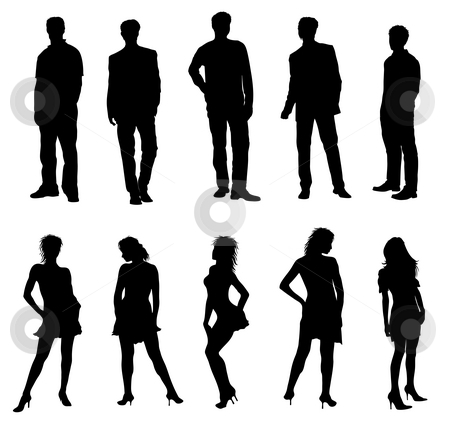 Young adults silhouettes black white stock photo, Young adults silhouettes black white by Petra Roeder