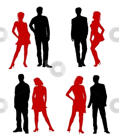 Young adults couple silhouettes black red stock photo, Young adults couple silhouettes black red by Petra Roeder