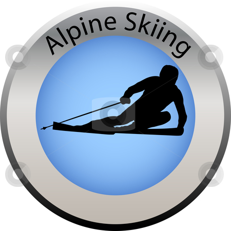 Winter game button alpine skiing stock vector clipart, Winter game button alpine skiing by Petra Roeder