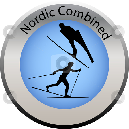 Winter game button nordic combined stock vector clipart, Winter game button nordic combined by Petra Roeder