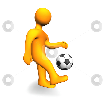 Human Soccer Ball 3D stock photo, 3d illustration looks humanoid person with a soccer ball. by Alexander Limbach