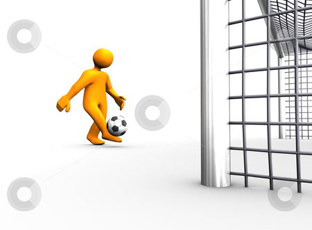 Goal stock photo, 3D illustration looks humanoid person with a many footballs. by Alexander Limbach