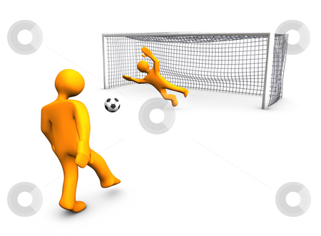 Goalgetter stock photo, 3d illustration look soccer place with orange players. by Alexander Limbach