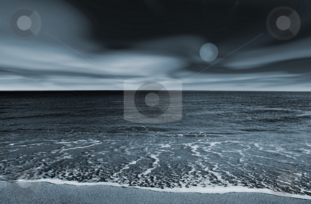 Beach landscape stock photo, Picture of a beach at night (blue toned) by ikostudio