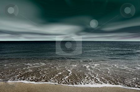 Landscape beach stock photo, Picture of a night beach landscape by ikostudio
