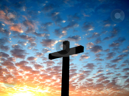 Cross stock photo, Cross in a cloudy sky by ikostudio