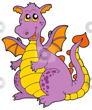Big purple dragon stock vector clipart, Big purple dragon - vector illustration. by Klara Viskova