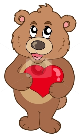 Cute bear holding heart stock vector clipart, Cute bear holding heart - vector illustration. by Klara Viskova