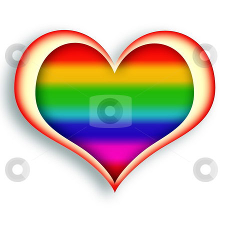 Rainbow Heart stock photo, Multicolored glowing heart symbol over white background by Skovoroda