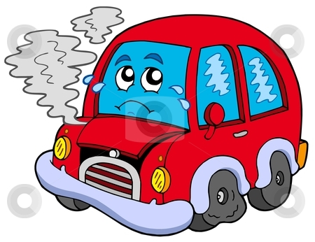 cartoon car pictures. Broken cartoon car - vector