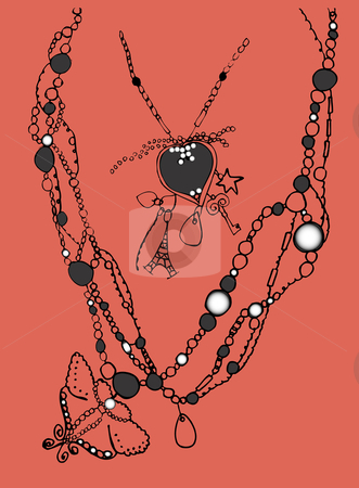 Necklace stock vector clipart, Necklace with lot of bijouterie items by Gonzalo Yebra