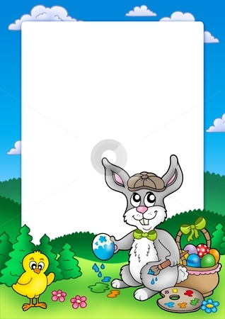 Frame with bunny artist and chicken stock photo, Frame with bunny artist and chicken - color illustration. by Klara Viskova