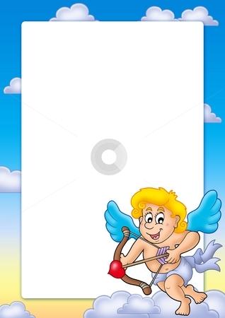 Valentine frame with happy Cupid 2 stock photo, Valentine frame with happy Cupid 2 - color illustration. by Klara Viskova
