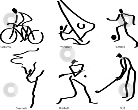 Sports stock vector clipart, Line drawn sport ilustration by Gonzalo Yebra