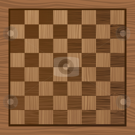 Wooden chess board stock vector clipart, Square wooden chess board with grain effect ideal background by Michael Travers