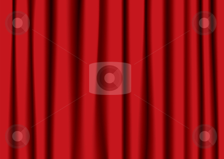 Red theater curtain stock vector clipart, Red theater velvet curtains with shadow and folds ideal background by Michael Travers