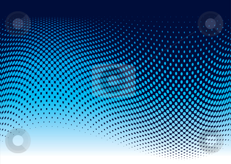 Ocean halftone wave stock vector clipart, Abstract ocean wave background in blue with copy space by Michael Travers