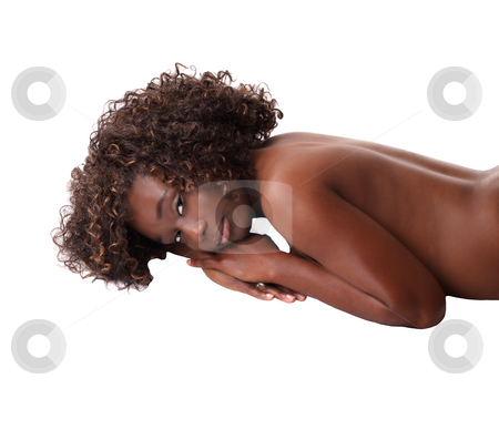 Attractive black woman laying on stomach nude stock photo, Show-Nothing topless African American woman reclining on stomach by Jeff Cleveland