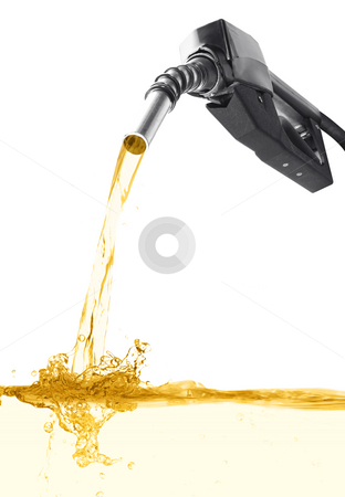 Liquid Gold stock photo, Stock image of fuel nozzle pouring gasoline over white background by iodrakon