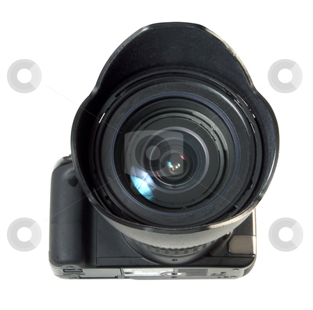Photocamera stock photo, A black reflex photocamera with wide-angle lens and hood by Fabio Alcini