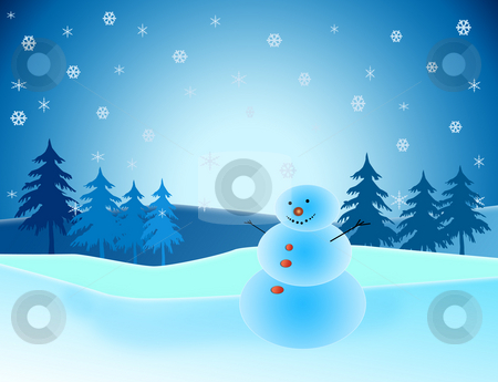 Snowman in winter scene stock photo, Snowman in winter scene with trees and snow by Melissa King