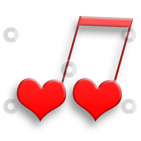 Love Is Music stock photo, Sweet couple of two red hearts in harmony as musical symbol over white background by Skovoroda