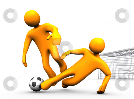 Tackle Soccer stock photo, 3d illustration looks two orange humanoides playing soccer. by Alexander Limbach