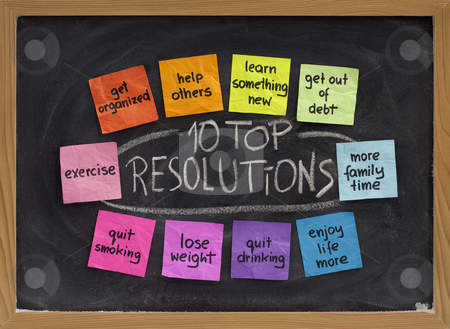10 top new year resolutions stock photo, 10 top new year resolutions - colorful sticky notes on blakboard with white chalk texture by Marek Uliasz