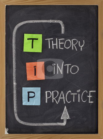Theory into practice - TIP acronym stock photo, TIP - theory into practice concept, colorful reminder notes and white chalk handwriting on blackboard by Marek Uliasz