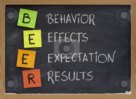 Behavior, effects, expectation, results stock photo, BEER (behavior, effects, expectation, results) acronym - assessing performance of project or new initiative, white chalk handwriting, color reminder notes on blackboard by Marek Uliasz