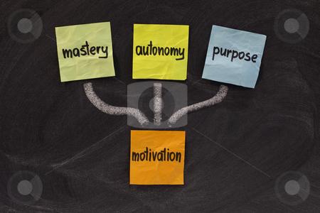 Mastery, autonomy, purpose - motivation stock photo, Three elements of true motivation - mastery, autonomy, purpose - colorful sticky notes on blackboard by Marek Uliasz