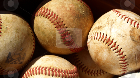 Old baseball stock photo, Old baseballs in a bucket after a long season by Tim Markley