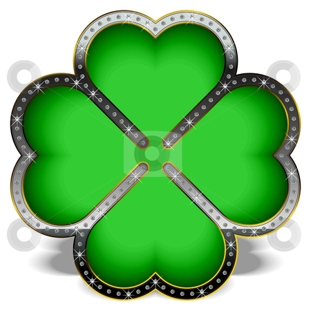 Diamond clover stock vector clipart, Green clover in a luxury frame, decorated with diamonds. by Tamas Vargyasi