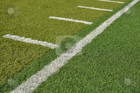 Side Line of a Football Field stock photo, Side Line of a Football Field with hash marks by Brandon Bourdages