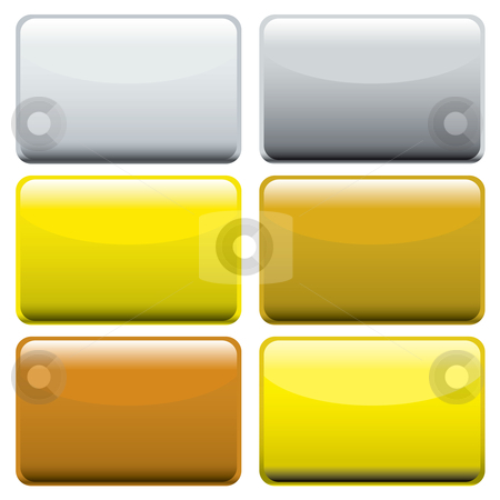 Metallic oblong web buttons stock vector clipart, Collection of six metallic oblong web buttons with light reflection by Michael Travers