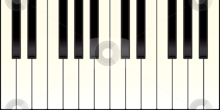 Piano keyboard stock vector clipart, Piano keyboard with black and white keys illustrated by Michael Travers