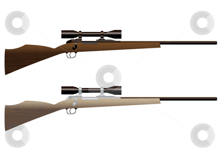 Hunting rifle stock vector clipart, Two wooden hunting rifles with sight and wood grain by Michael Travers