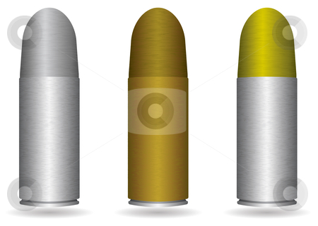Small handgun bullet stock vector clipart, Collection of three small handgun bullets with different metal finishes by Michael Travers