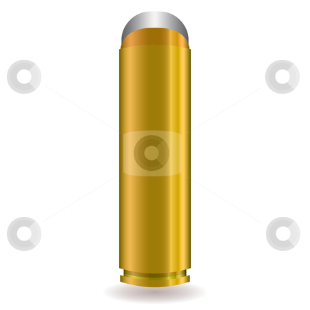 Large rifle bullet stock vector clipart, Large rifle bullet with silver tip and gold body by Michael Travers