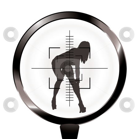 Hunt rifle sexy target stock vector clipart, Sexy woman in rifle target and sight in silhouette by Michael Travers