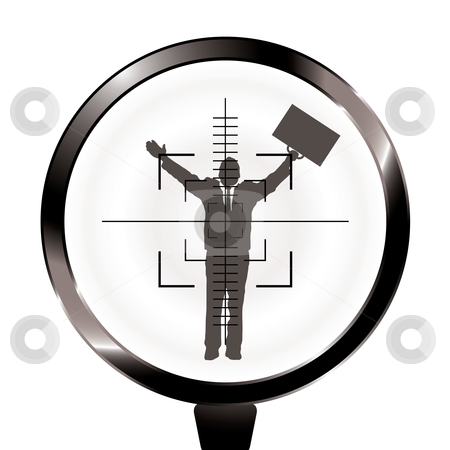 Business man rifle target stock vector clipart, Banker or businessman in the sights of a rifle with target by Michael Travers