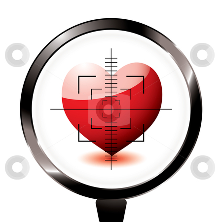 Love heart riffle target stock vector clipart, Valentines day love heart in a rifle sight concept by Michael Travers