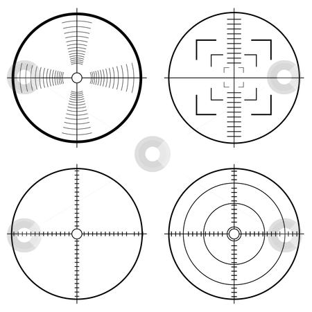 Hunting sight tragets stock vector clipart, Illustration of a hunting sight with target lines and guide to aim by Michael Travers
