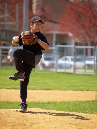 Little league pitcher stock photo, Little league baseball pitcher on the pitching mound by Cynthia Farmer