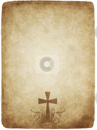 Cross on old parchment stock photo, Cross on old worn and grungy parchment paper by Phil Morley
